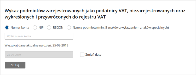 Biała lista podatników VAT od września 2019 r.